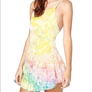 UNIF Rainbow Crushed Velvet Rink Dress